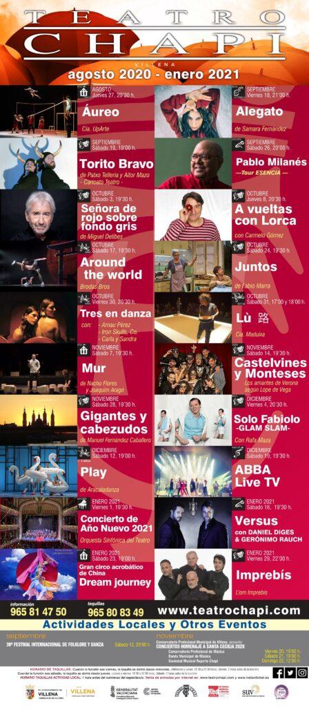 Programación Teatro Chapí Agosto 2020 - Enero 2021